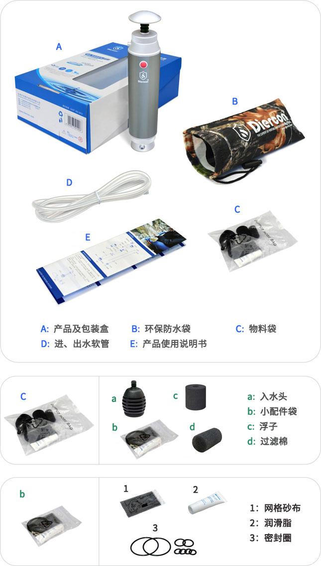 康米尔KP02军用滤水器彩盒包装明细