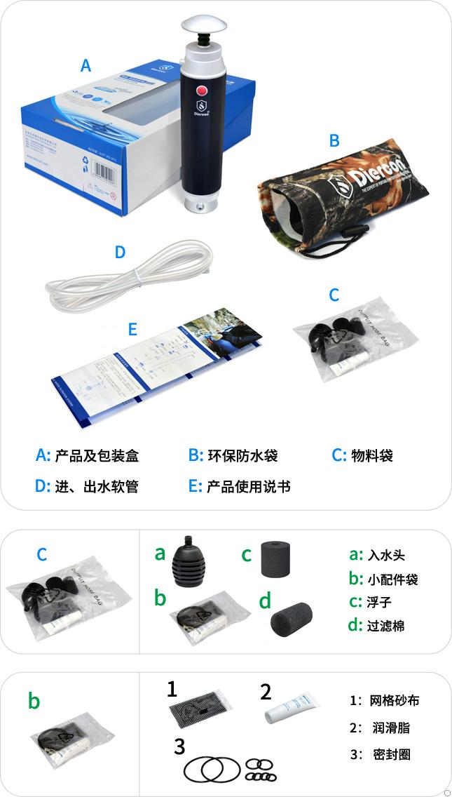 康米尔KP01军用便携式净水器彩盒包装明细