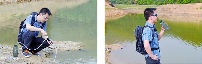 康米尔KP02救援净水器即滤即饮示意图