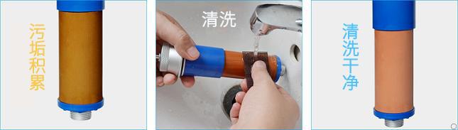 康米尔KP02救援净水器滤芯可反复清洗示意图