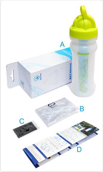 康米尔Diercon户外滤水瓶彩盒包装明细