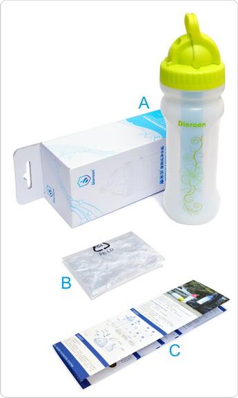 康米尔Diercon运动净水壶彩盒包装明细