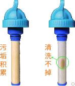 康米尔PB01应急净水瓶滤芯污脏示意